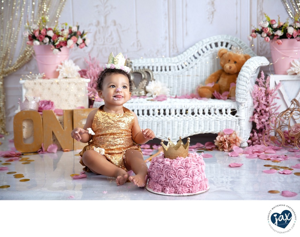 Beautiful First Birthday Cake Smash Jacksonville, FL