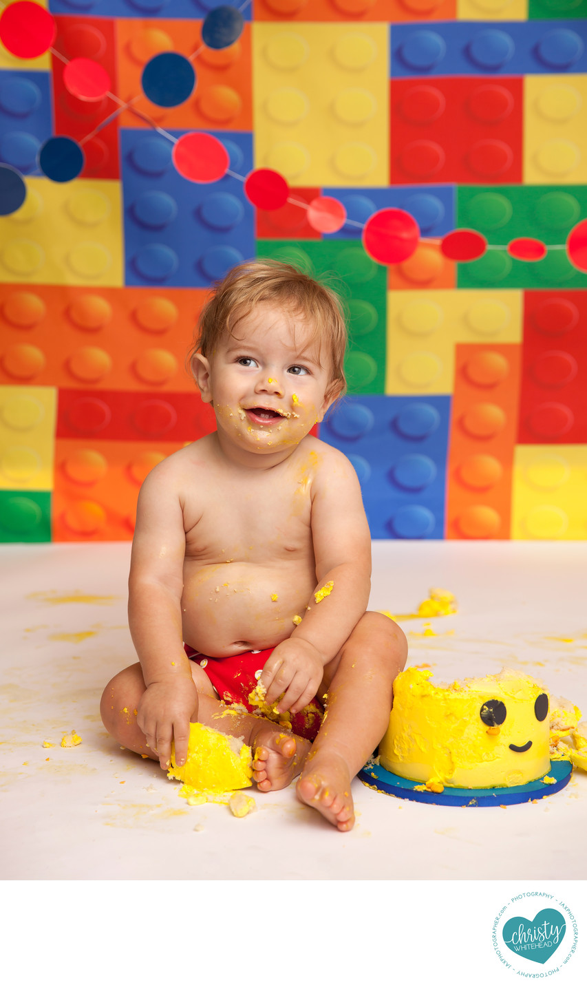 Baby Lego Cake Smash Photo Shoot JAX Photography