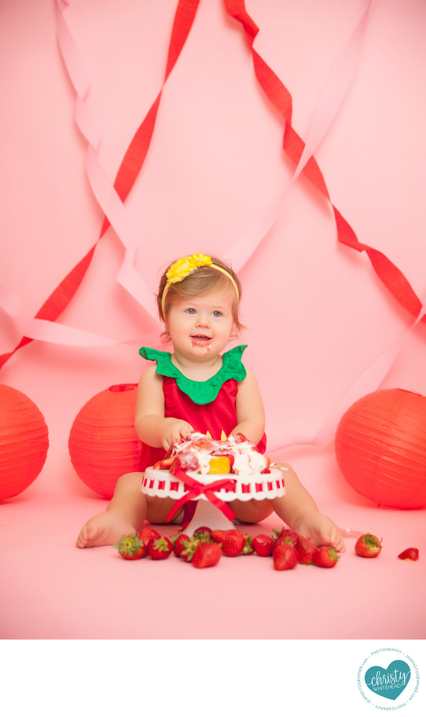 Little Girl Strawberry Shortcake Cake Photo Shoot