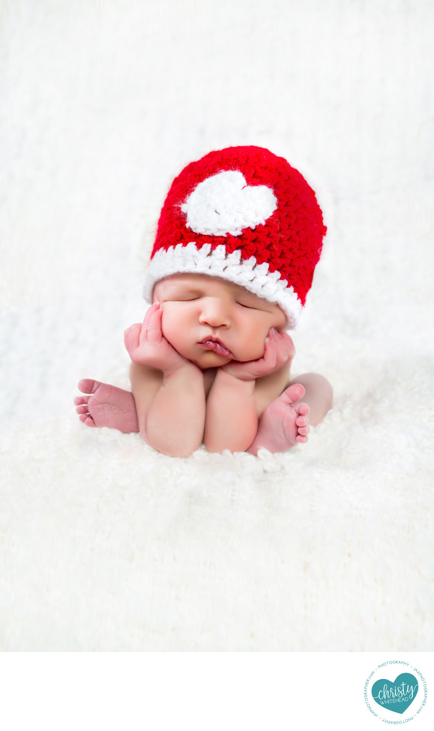 Newborn With Heart Hat Photo Shoot Florida