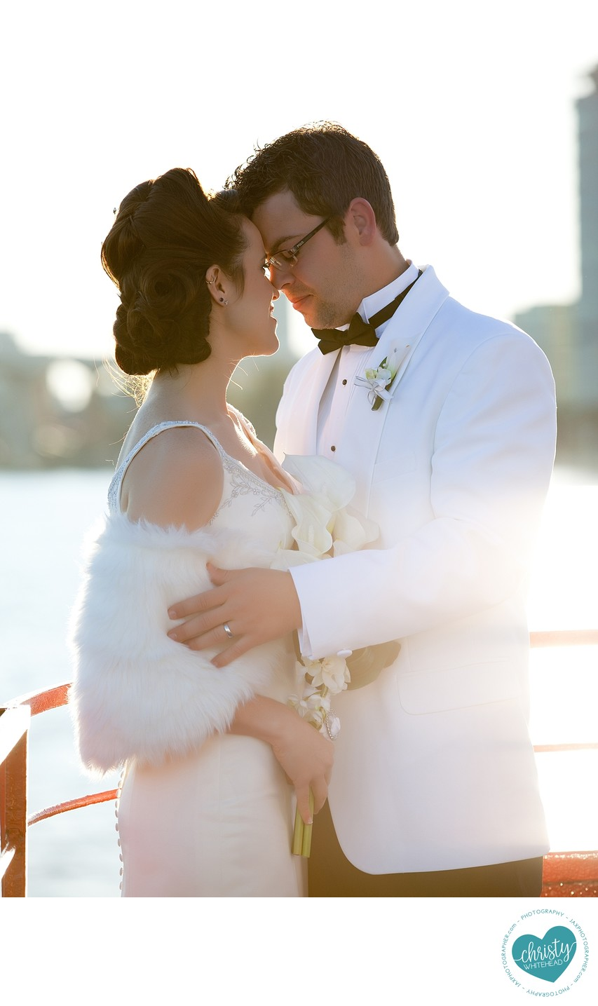 Beautiful sunset on this boat wedding in downtown