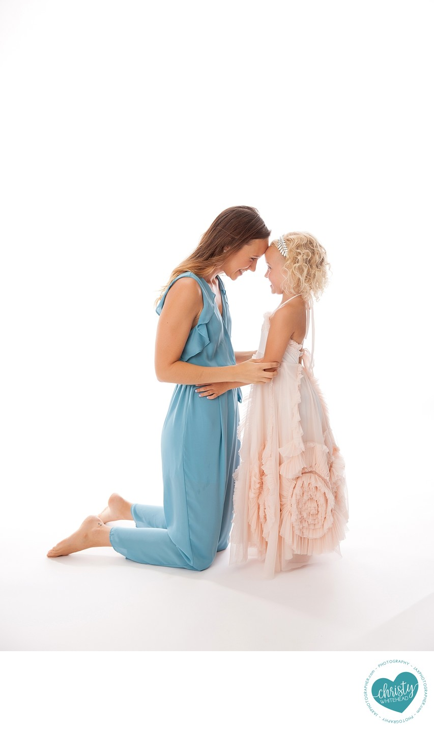 Mom And Daughter In Studio for Photo Shoot