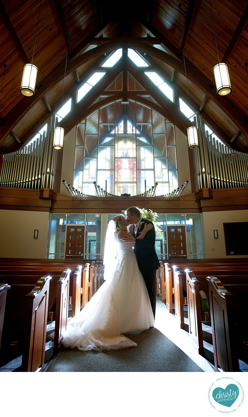 Gorgeous church wedding portrait