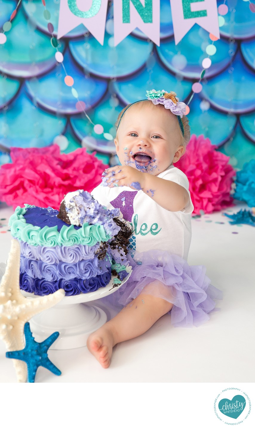 Cutest Little Baby Girl Photo Shoot With A Cake JAX