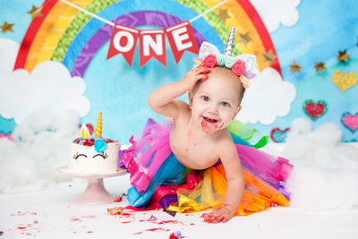 One year old baby Unicorn smash