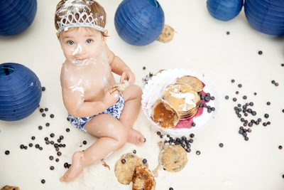 Baby Girl Eating Blueberry Pancake Smash JAX