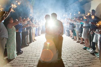 Kiss between the sparklers