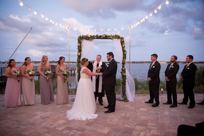 River house wedding at sunset