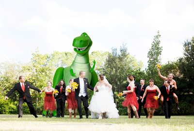Toy Story's Rex coming after bridal party