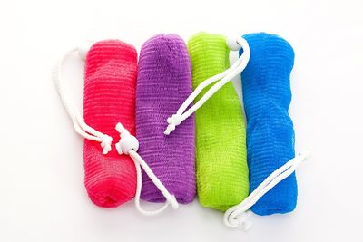 Product photography colorful loofahs