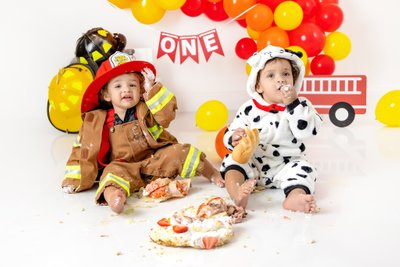 Twins Firefighter  Cake Smash Christy Whitehead Photo