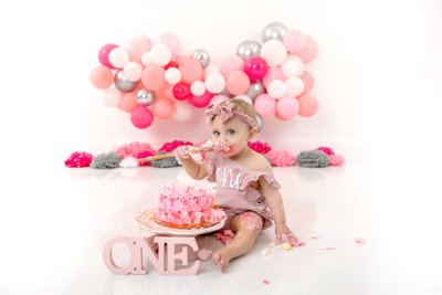 Baby Girl's Pink Cake Smash Christy Whitehead