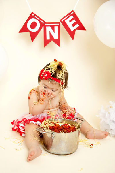 Spaghetti Food Smash Baby Photo Shoot JAX