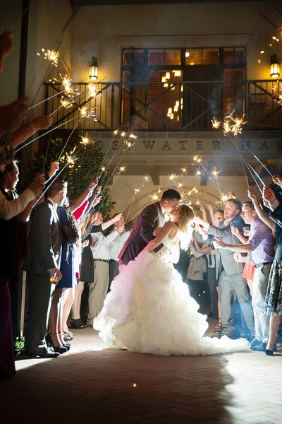 A kiss in sparkler exit