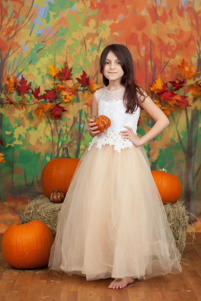 Little Girl With Pumpkins Christy Whitehead