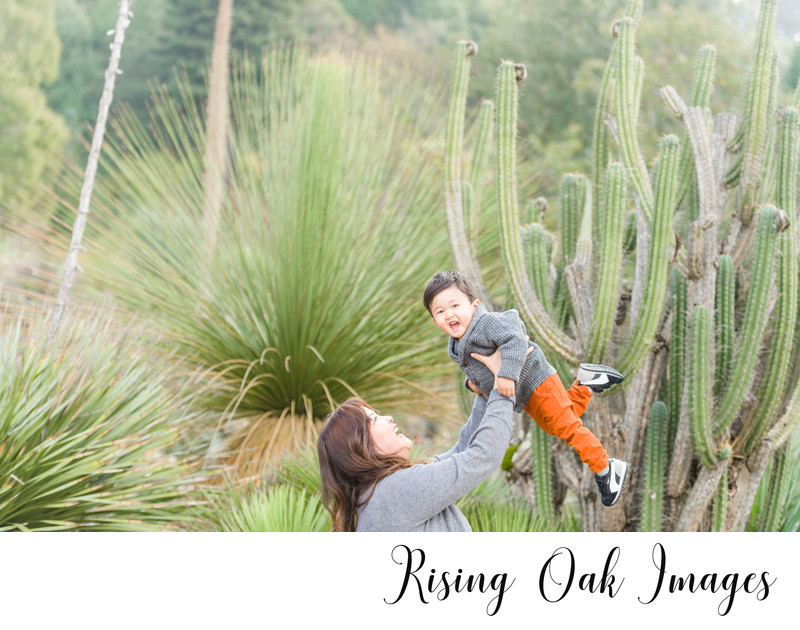 Mom lifts toddler into air in front of cactus plant