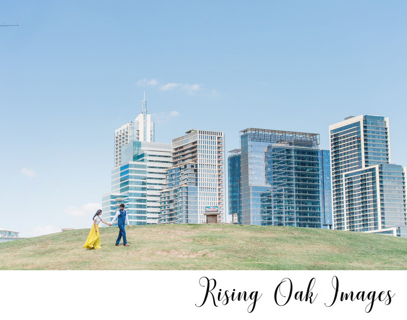 Austin city views from Butler Park during engagement