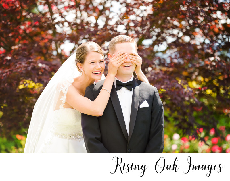 First look with bride and groom in Snoqualmie, Washington