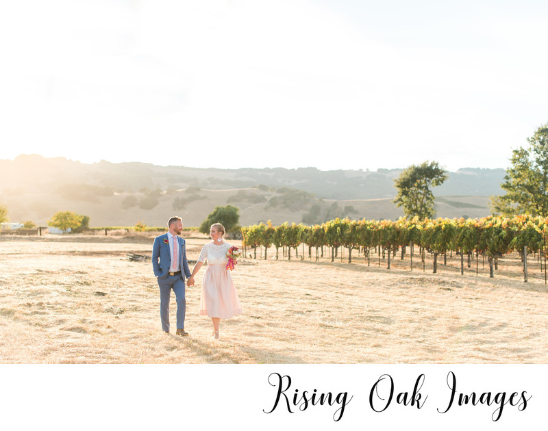 Sonoma couple walks along vineyard at sunset