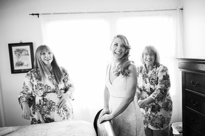Austin Bride getting ready with mother and sister