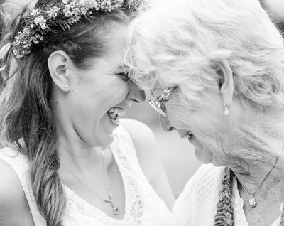 Dripping Springs bride cuddles up with grandma