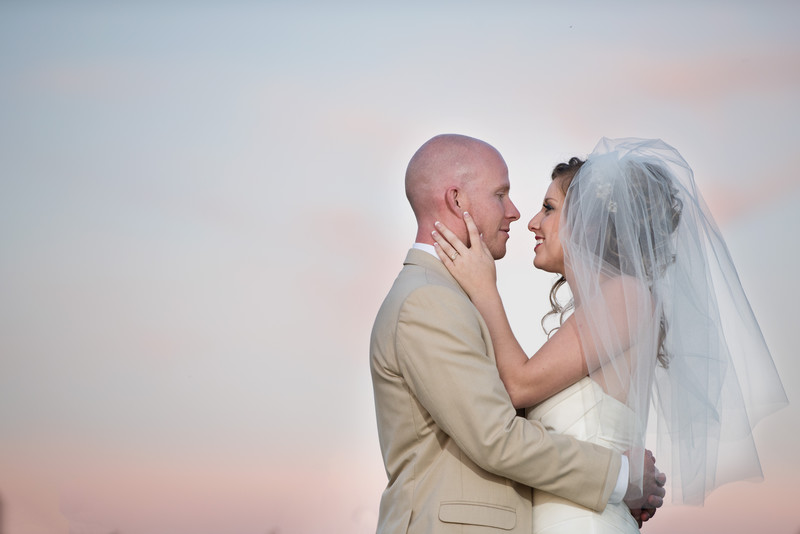 Bride and Groom and South Alabama Sunset