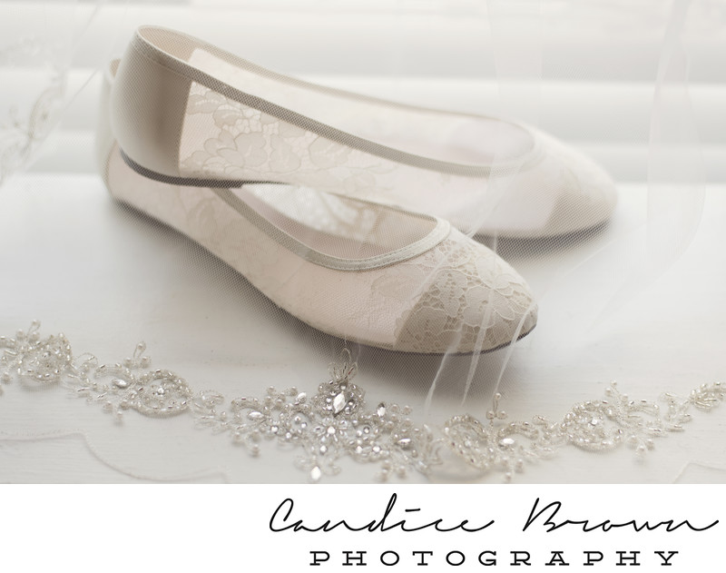 Wedding Flats and Jeweled Veil