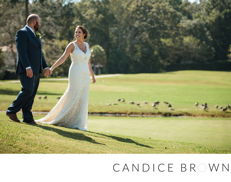 Bride and Groom on Heron Lakes Golf Course