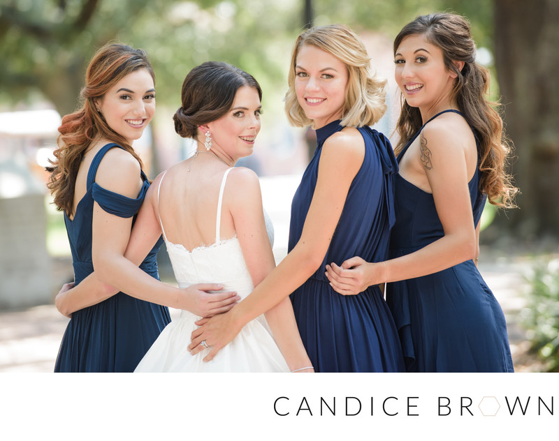 Bride and Bridesmaids in Navy Blue - Lee House Wedding