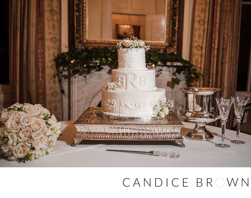 Bride's Cake Table at Ezell House Mobile Alabama Wedding