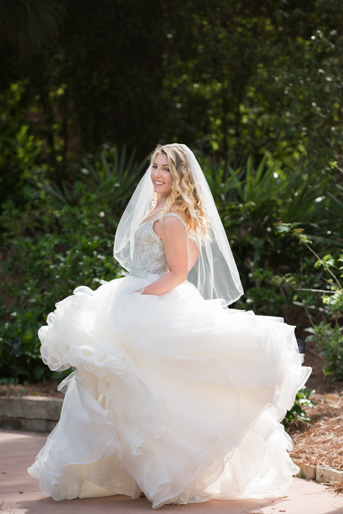 Bride Twirling at Mobile Botanical Gardens in Mobile,AL