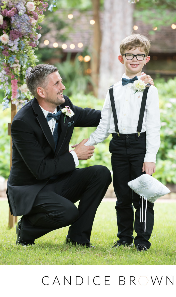 groom and ring bearer- mobile botanical gardens wedding