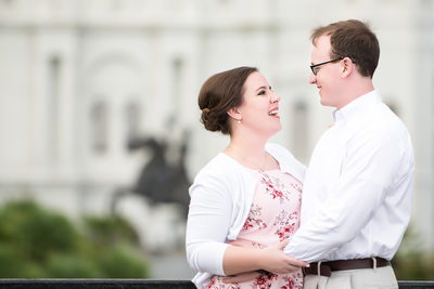 Engaged Couple in New Orleans' Jackson Square