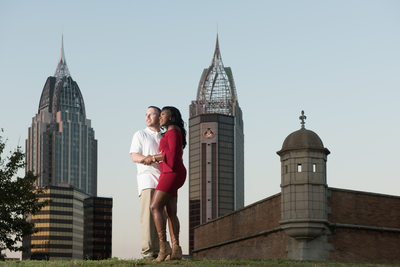 Engaged Couple in Historic Mobile Alabama
