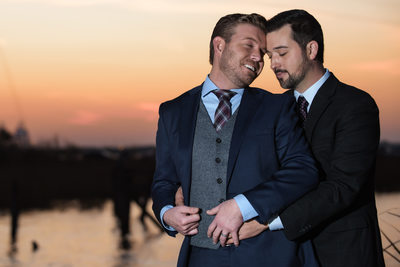 Affectionate Same Sex Wedding-Sunset on the Causeway