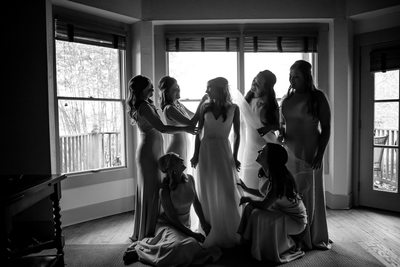 bride and bridesmaids-Old Waverly wedding photographer