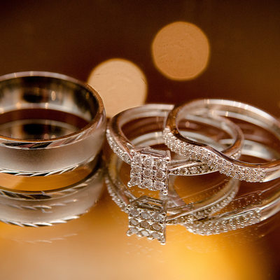 Photo of the engagement and wedding rings