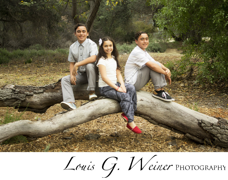 Sibling portrait at Pomona College in Claremont Ca