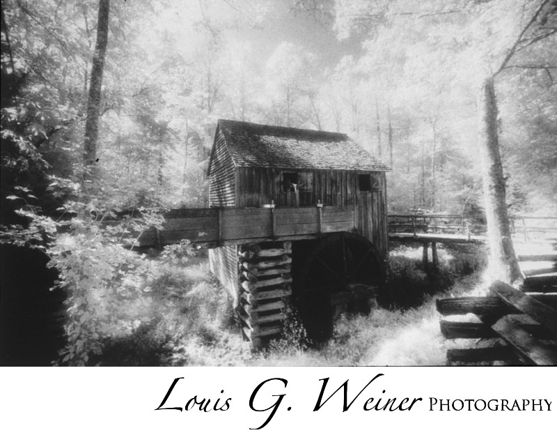 Infrared film photograph at Cades Cove, TN old Mill