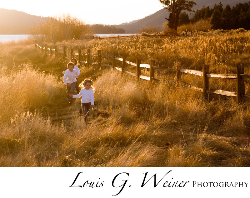 Big Bear Lake Kids Portrait running at Juniper point, CA