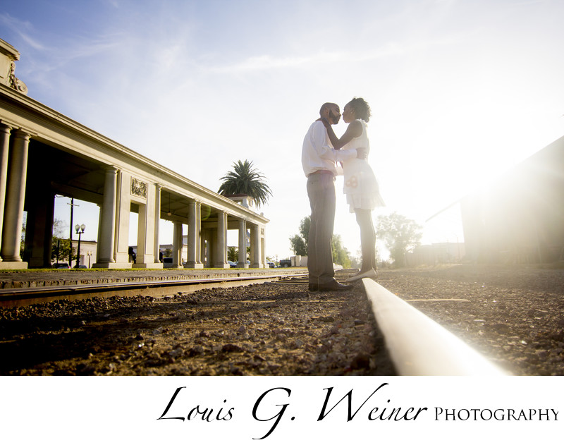 historic Redlands train station Engagement Portraits