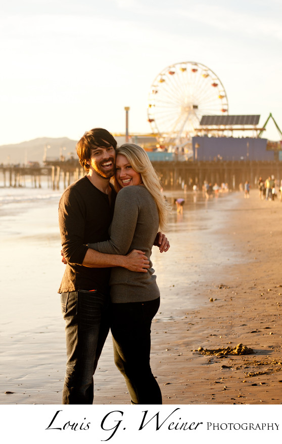 Sunset Santa Monica pier Engagement Portraits
