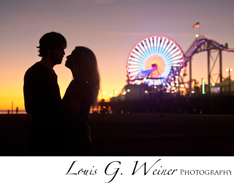 Santa Monica Beach Pier Engagement Portrait session