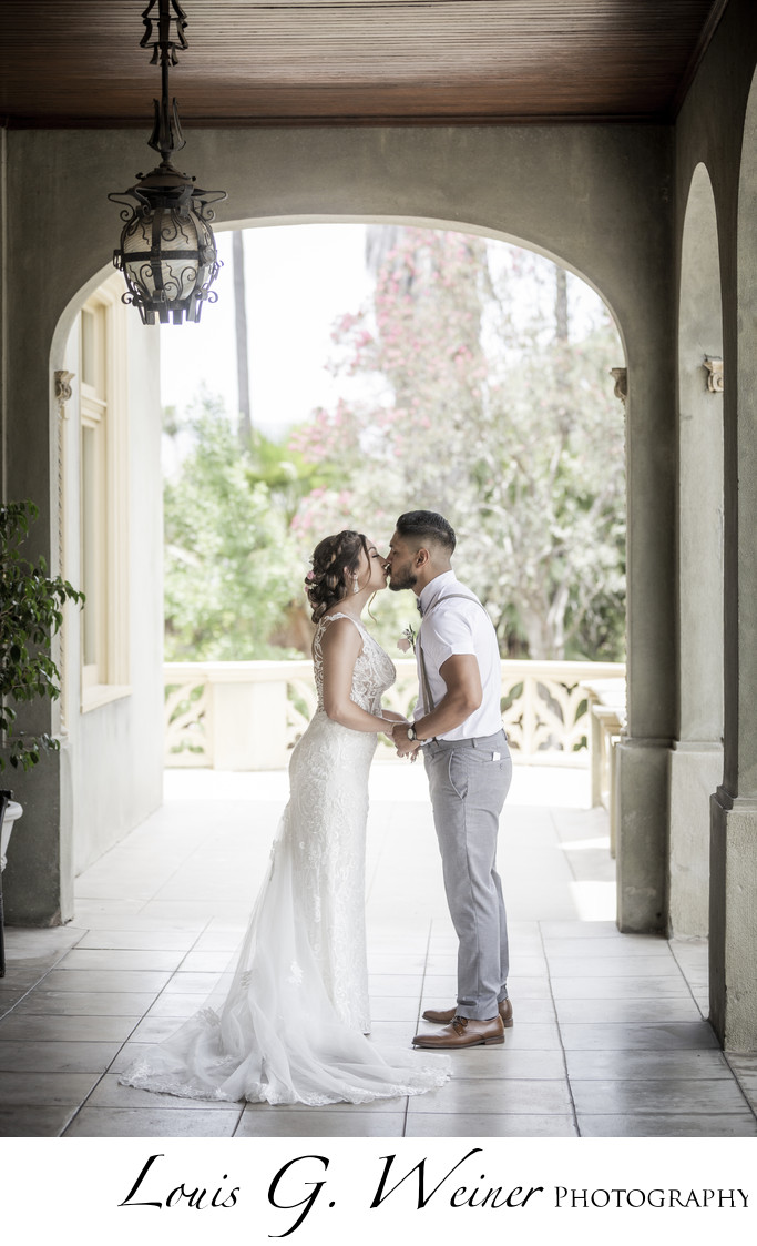 Kimberly Crest House and Garden Wedding, wedding kiss.