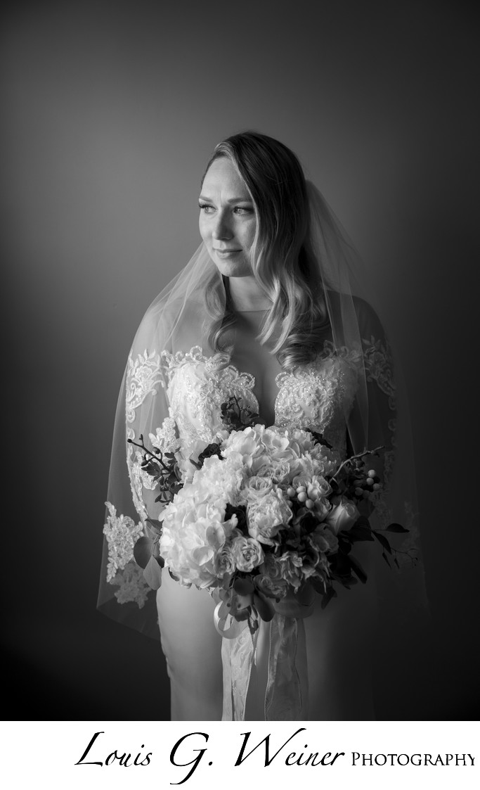 Bride's portrait at Christmas House Inn & Garden, Black & White