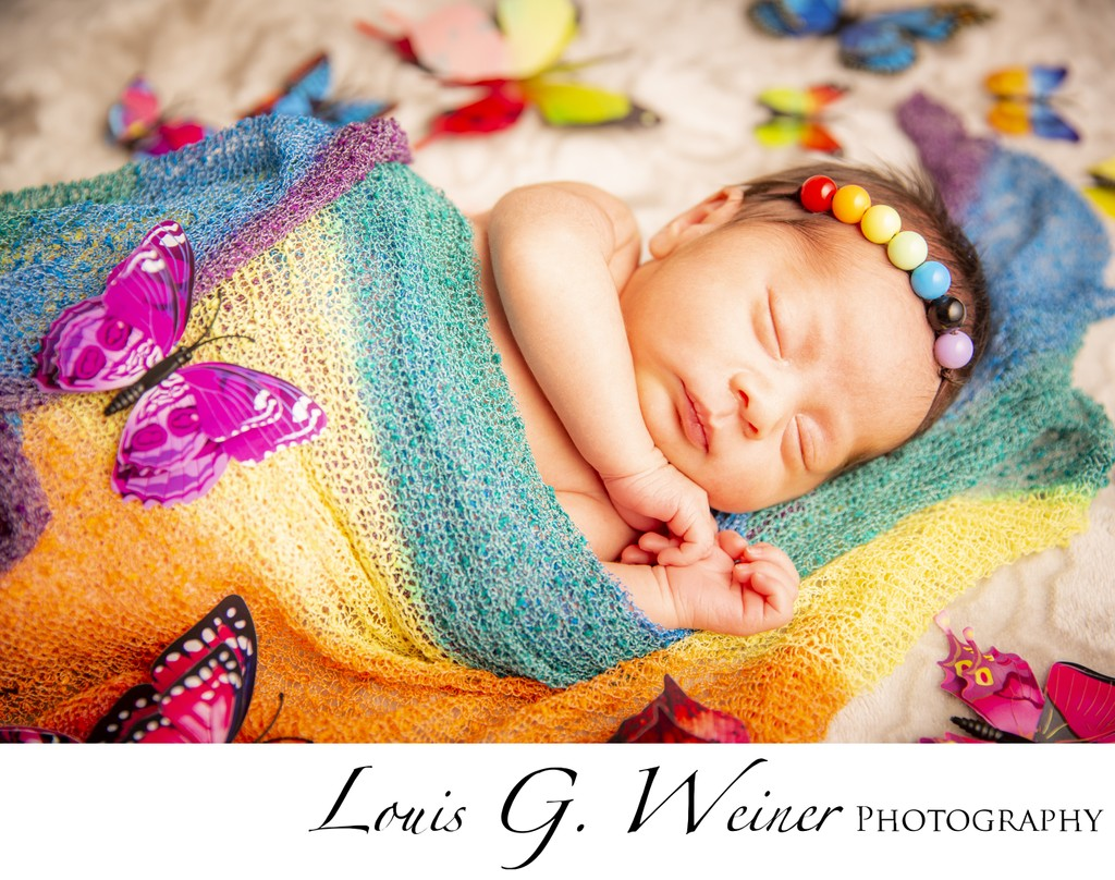 Rainbow Newborn Photography session in Fontana