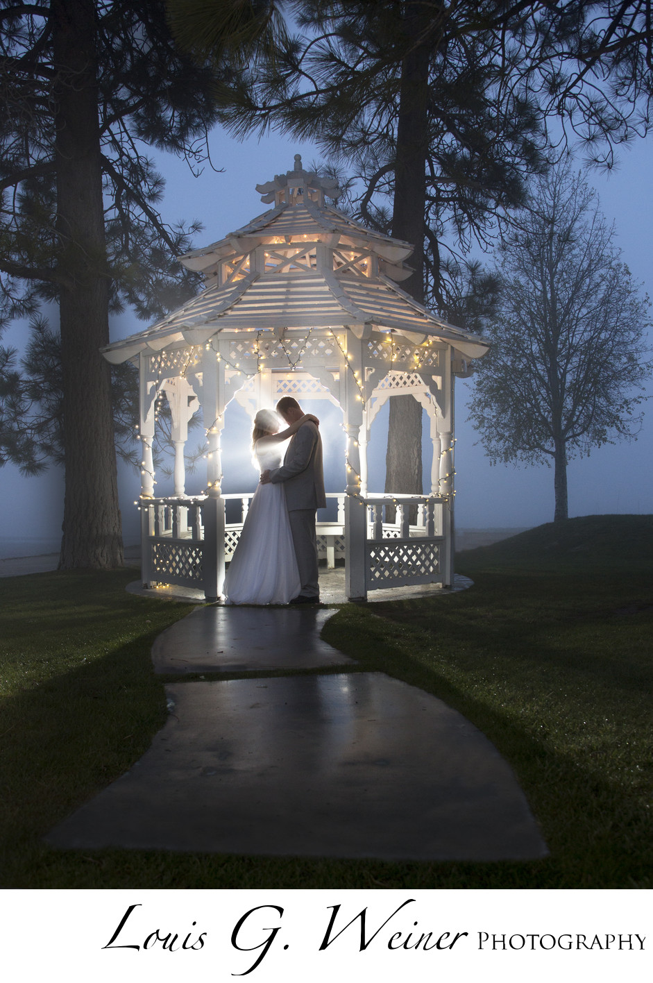 Foggy night, Marina resort, big Bear Lake Wedding photography