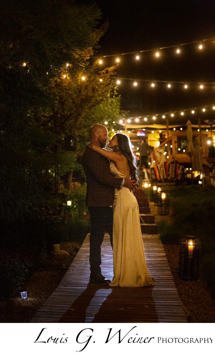 Intimate wedding moment at night, romance and love