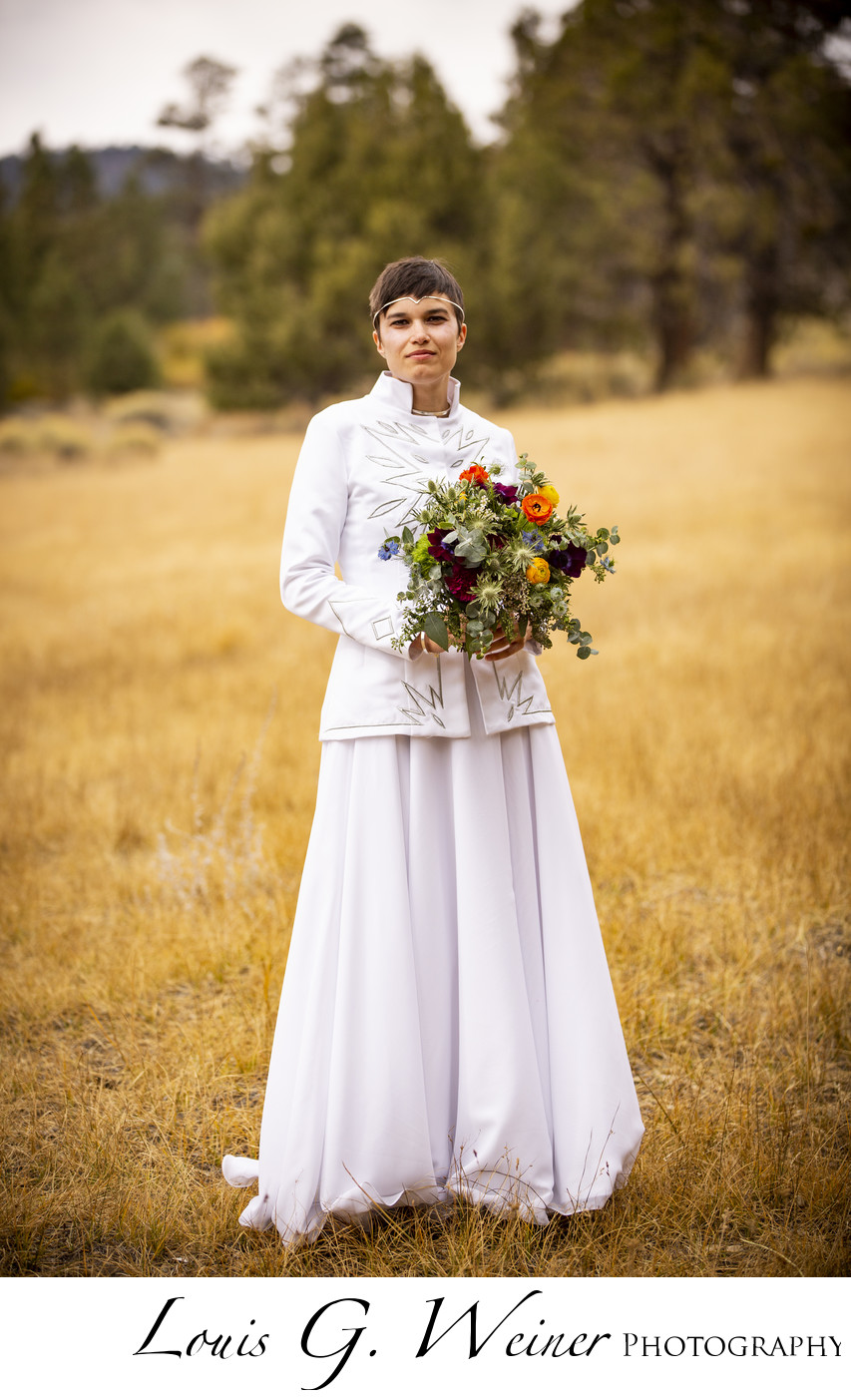 Bride alone, Juniper point and  Wedding at Gold Mountain Manor