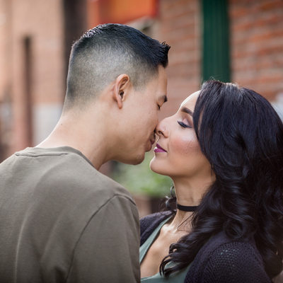 Wedding / Engagement session old town Redlands, the kiss